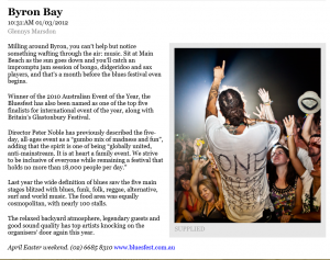 Writing Byron Bay article by Glennys Marsdon