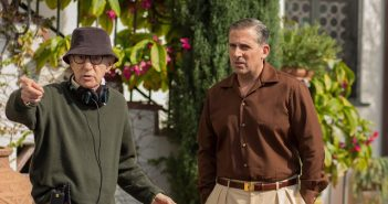 Director Woody Allen on set with Steve Carell (Phil). CAFE SOCIETY Entertainment One Films release.